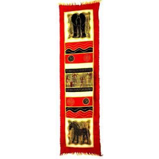 Handpainted Vertical Red Elephant with Dancers Batik (Zimbabwe)