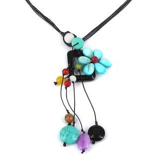 Floral Frame Blue Daisy Mix Stone Handmade Necklace (Thailand)