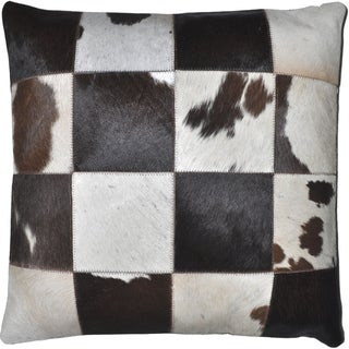Dark Brown Leather Hide Hair Matador Pillow 18-inch