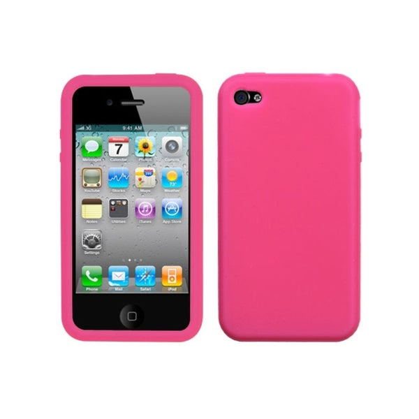 INSTEN Solid Hot Pink Skin Phone Case Cover for Apple iPhone 4S/ 4
