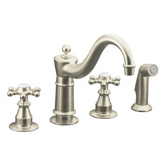 Kohler Antique Kitchen Vibrant Brushed Nickel Sidespray Six-prong Handles and Sink Faucet