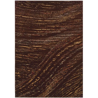 LNR Home Adana Brown Abstract Brush-stroke Accent Rug (1'10 x 3'1)