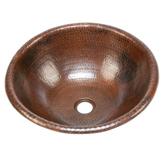 Handmade 16-inch Round Bathroom Copper Sink with Curved Decorative Rim