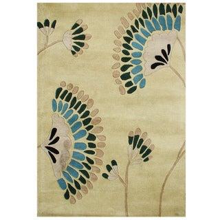 Alliyah Handmade Deep Lichen Green New Zealand Blend Wool Rug (8x10)