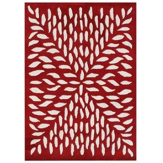 Alliyah Rugs Handmade Red New Zealand Blend Wool Rug (8x10)