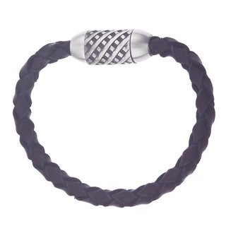 Stainless Steel and Black Leather Men's Braided Bracelet
