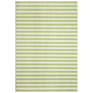 Indoor/ Outdoor Green Striped Rug (8'6 x 13')