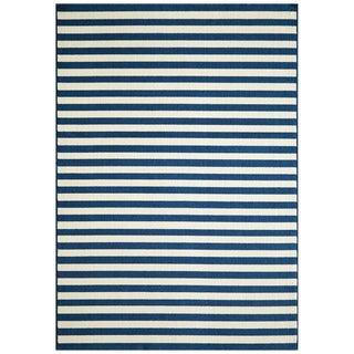 Indoor/ Outdoor Navy Striped Rug (6'7 x 9'6)