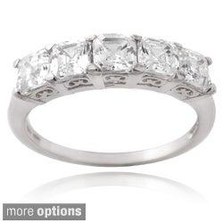 Icz Stonez Silver Asscher-cut Cubic Zirconia Half Eternity Ring