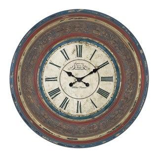 'Cafe De La Tour Paris' Hand-carved 34-inch Wall Clock