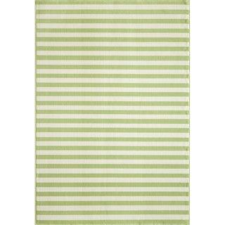Indoor/Outdoor Green Striped Rug (7'10 x 10'10)