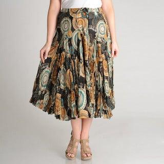 Grace Elements Women's Plus Novelty Printed Cotton Skirt
