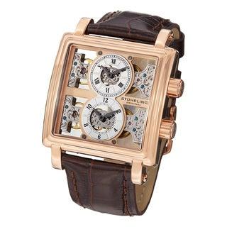 Stuhrling Original Men's Double Bridge Mechanical Skeleton Leather Strap Watch