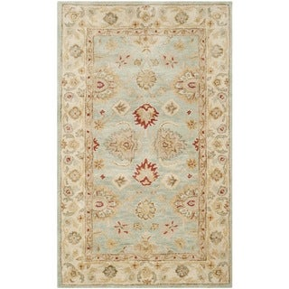 Safavieh Handmade Antiquity Blue-grey/ Beige Wool Rug (2'3 x 4')