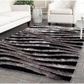 Safavieh Handmade 3D Shag Black/ Grey Rug (8' x 10')