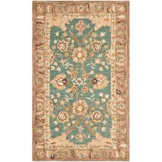 Safavieh Hand-made Anatolia Teal/ Camel Wool Rug (4' x 6')