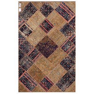 Pak Persian Hand-knotted Patchwork Multi-colored Wool Rug (4'11 x 7'9)