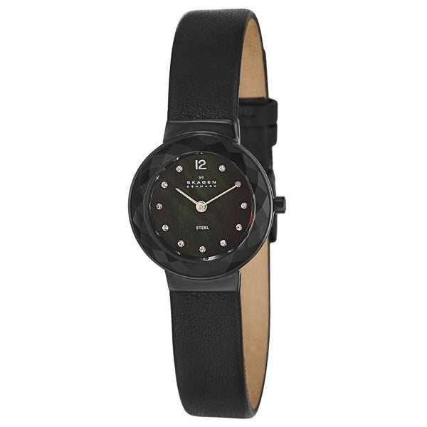 skagen s leather black stainless steel
