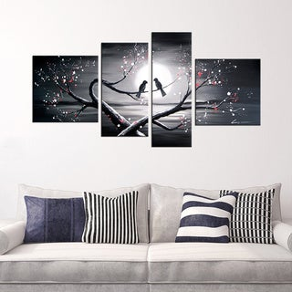 Hand-painted 'Heart to Heart Talk' 4-piece Oil Gallery Wrapped Canvas Art Set