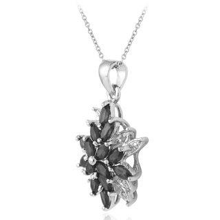 Glitzy Rocks Plated Gemstone and Diamond Accent Starburst Necklace