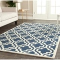 Safavieh Handmade Moroccan Cambridge Navy/ Ivory Wool Area Rug (10' x 14')