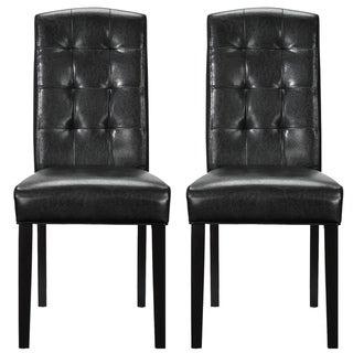 Set of 2 Black Vinyl Perdure Dining Chair