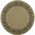 Safavieh Indoor/Outdoor Courtyard Sand/Black Area Rug (7'10 Round)
