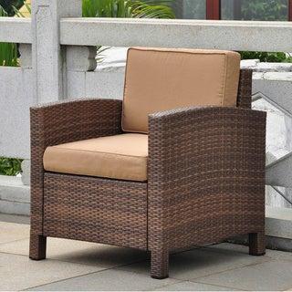 International Caravan Barcelona Resin Wicker/Aluminum Armchair with Seat and Back Cushions