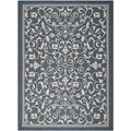 Safavieh Floral Indoor/Outdoor Courtyard Navy/Beige Rug (8' x 11')