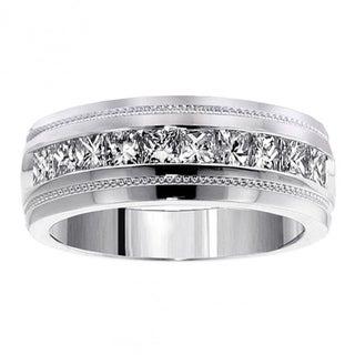 14k/18k Gold or Platinum 1.05 CT Men's Diamond Princess Cut Ring