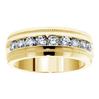 14k Yellow Gold 1 CT Brilliant Cut Diamond Men's Ring