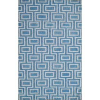 Safavieh Handwoven Moroccan Reversible Dhurrie Labyrinth-pattern Light Blue/ Ivory Wool Rug (9' x 12')