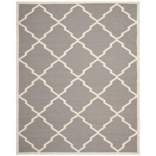 Safavieh Handwoven Moroccan Reversible Dhurrie Grey/ Ivory Wool Area Rug (9' x 12')