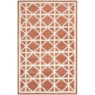 Safavieh Handwoven Moroccan Reversible Dhurrie Red/ Ivory Geometric Wool Rug (9' x 12')