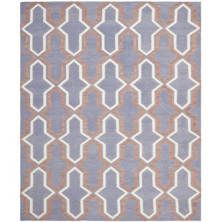 Safavieh Hand-woven Moroccan Reversible Dhurrie Purple Wool Rug (9' x 12')
