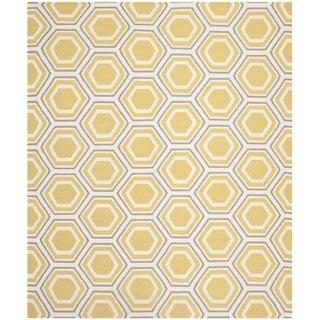 Safavieh Hand-woven Moroccan Reversible Dhurrie Ivory/ Yellow Wool Rug (9' x 12')