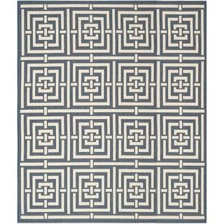 Safavieh Geometric Indoor/Outdoor Courtyard Navy/Beige Rug (9' x 12')