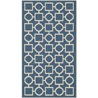 Safavieh Geometric Indoor/Outdoor Courtyard Navy/Beige Rug (2'7 x 5')