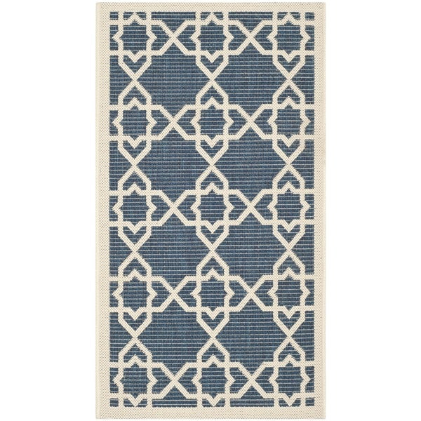 Safavieh Moroccan Indoor/Outdoor Courtyard Navy/Beige Accent Rug (2' x 3'7)