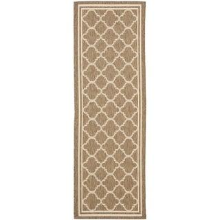 Safavieh Indoor/ Outdoor Courtyard Brown/ Bone Rug (2'3 x 8')