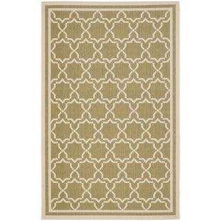 Safavieh Indoor/ Outdoor Courtyard Green/ Beige Rug (9' x 12')