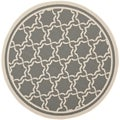 Safavieh Indoor/Outdoor Courtyard Anthracite/Beige Geometric Rug (7' 10