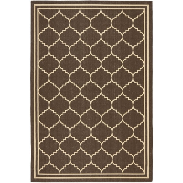 Safavieh Indoor/ Outdoor Courtyard Chocolate/ Cream Rug (9