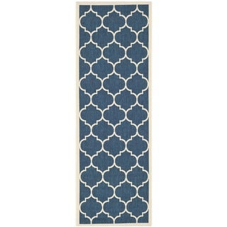 Safavieh Dhurrie Indoor/Outdoor Courtyard Navy/Beige Runner Rug (2'3 x 6'7)