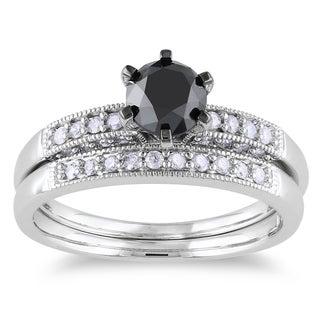 Miadora 10k White Gold 1 1/3ct TDW Black and White Diamond Bridal Ring Set (H-I, I2-I3)