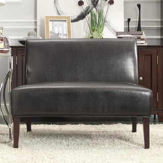 INSPIRE Q Wicker Dark Brown Faux Leather 2-seater Accent Loveseat