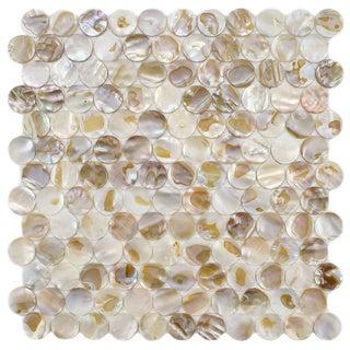 SomerTile Seashell Penny Natural Mosaic Tile (Pack of 10)