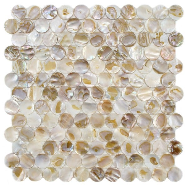 SomerTile 11.25x11.5-inch Seashell Penny Natural Mosaic Wall Tile (Case of 10)