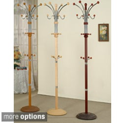 Metal and Wood Standing Coat Rack