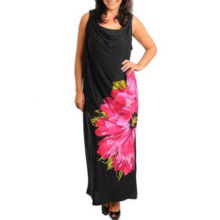 Stanzino Women's Plus Floral Print Sleeveless Maxi Dress